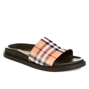 New Burberry Leather Sole Pool Slides Sandals